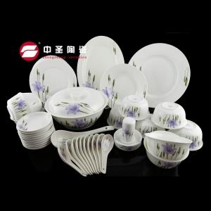 46头釉上彩紫条餐具ZS0260