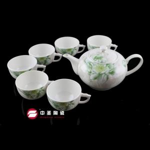 7头骨瓷釉中彩绿霸茶具ZS0095