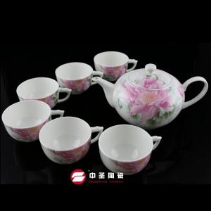 7头骨瓷釉中彩红霸茶具ZS0095