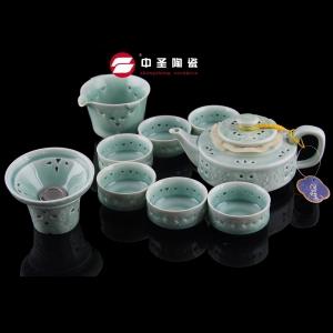 10头玲珑青瓷茶具ZS00165