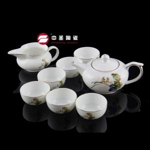 8头骨瓷荷鸟茶具ZS00130