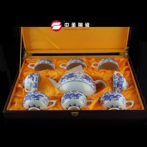 9头骨瓷釉中彩青龙茶具ZS00190