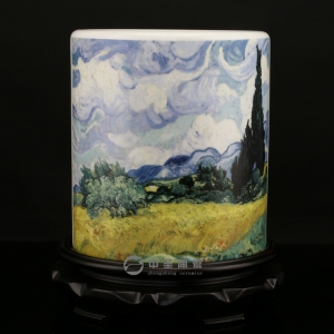 中圣青玉瓷骨瓷笔筒 陶瓷工艺品 梵高齐白石画作 家居摆件