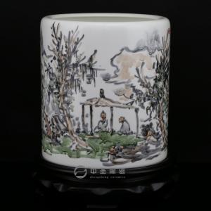 画家李杰陶瓷艺术作品《访道》   中圣青玉瓷笔筒