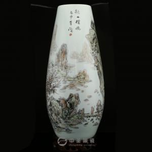 画家李杰陶瓷艺术作品《秋山探幽》   中圣青玉瓷玉米瓶