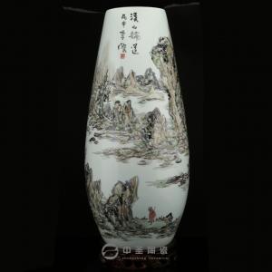 画家李杰陶瓷艺术作品《溪山论道》   中圣青玉瓷玉米瓶